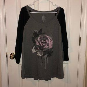 torrid Rose Raglan Long Sleeve Shirt